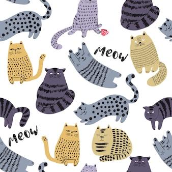 Śliczne koty ręcznie rysowane bezszwowe wzór słodkie postacie zwierząt domowych tapety dla dzieci i projekt tkaniny wektor il...