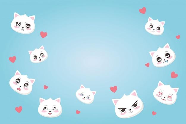 Śliczne koty z różnymi emocjami serca kochają kreskówka twarze zwierząt