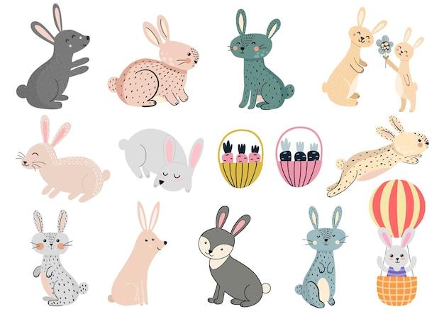 Śliczne króliki clipartów zestaw ilustracji