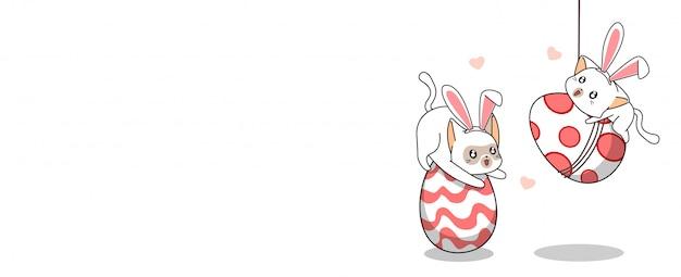 Śliczne króliki koty i jajka w szczęśliwym dniu easters