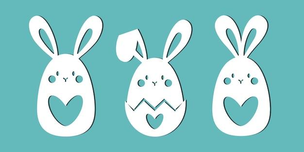 Śliczne króliki. szablony do cięcia papieru, cięcia laserowego i plotera.