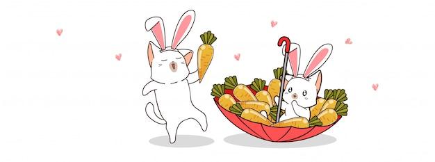 Śliczne króliki uwielbiają marchewki