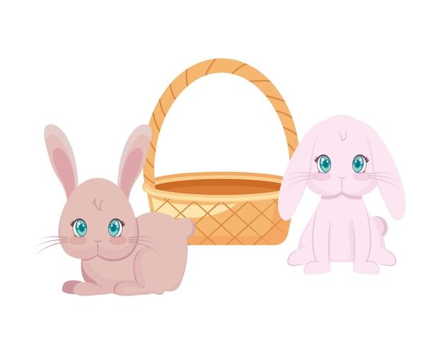 Śliczne króliki z koszem wiklinowym