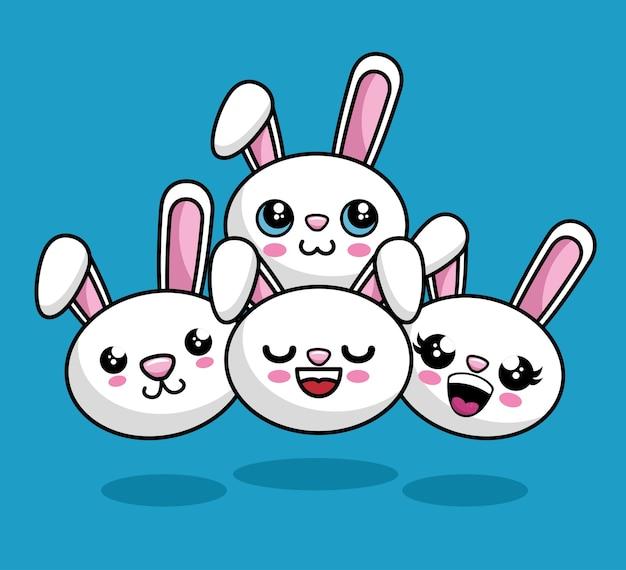 Śliczne króliki znaków styl kawaii