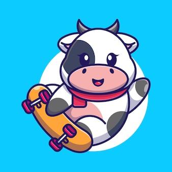 Śliczne krowy grać na deskorolce kreskówka