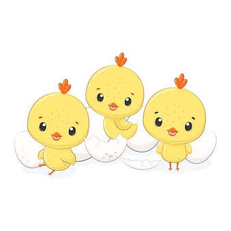 Śliczne kurczaki z jajkami w stylu cartoon ilustracji
