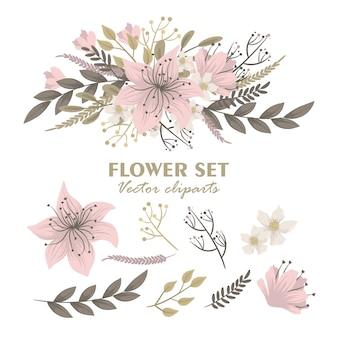 Śliczne kwiatowe bukiety na białym tle clipartów zestaw kwiatów