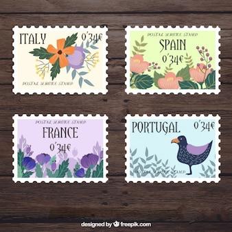 Śliczne kwiatowe znaczków krajów