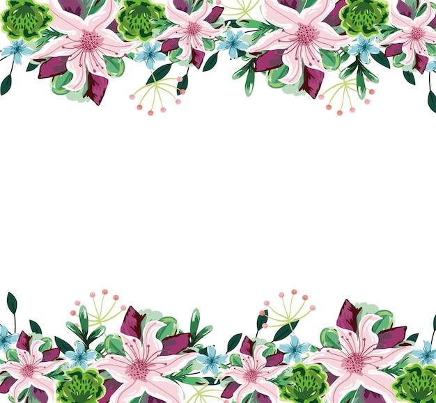 Śliczne kwiaty obramowania liści akwarela