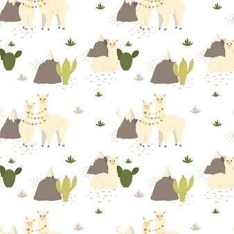 Śliczne lamy alpaki, kaktus, wzór góry.