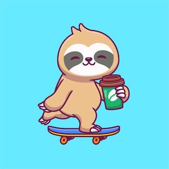 Śliczne lenistwo na deskorolce i trzymając kawę ilustracja kreskówka. koncepcja żywności i napojów dla zwierząt na białym tle. płaska kreskówka