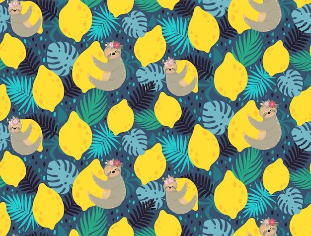 Śliczne leniwce na żółtych cytrynach otoczone tropikalnymi liśćmi.