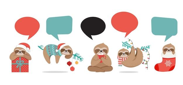 Śliczne leniwce, zabawne ilustracje świąteczne z kostiumami świętego mikołaja