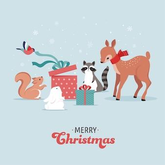 Śliczne leśne zwierzęta, zimowa i bożonarodzeniowa scena z jeleniem, króliczkiem, szopem, niedźwiedziem i wiewiórką. idealny do projektowania banerów, kart okolicznościowych, odzieży i etykiet.