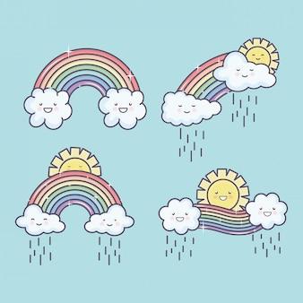 Śliczne letnie słońce i chmury deszczowe z tęczowymi postaciami kawaii