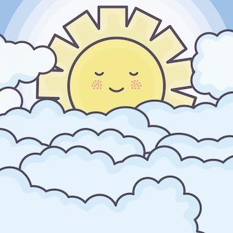 Śliczne letnie słońce i chmury kawaii znaków