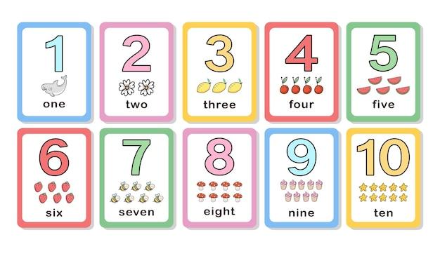 Śliczne liczby z kartami do nauki dla dzieci
