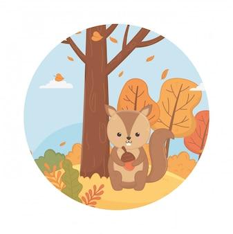 Śliczne liście zwierząt witaj jesień