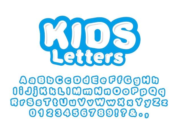 Śliczne litery dla dzieci na białym tle