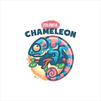 Śliczne logo chameleon cartoon dla twojej firmy