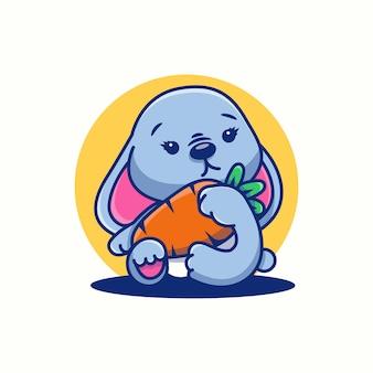 Śliczne logo króliczka kawaii