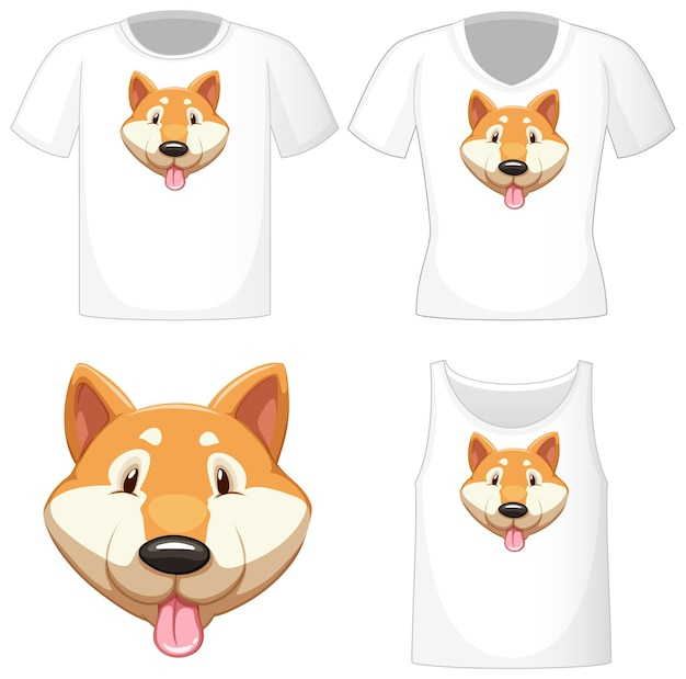 Śliczne logo psa shiba na różnych białych koszulach na białym tle