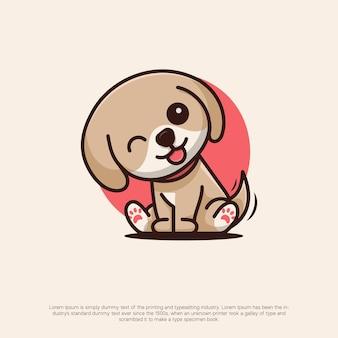 Śliczne logo psa w stylu kawaii