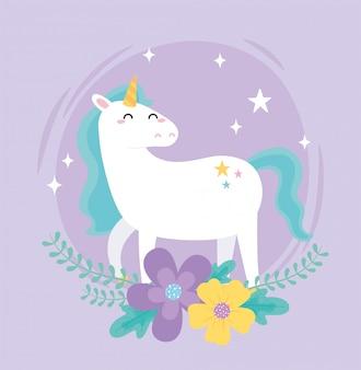 Śliczne magiczne jednorożce kwiaty gwiazda fantasy kreskówka wektor ilustracja