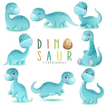 Śliczne małe dinozaur pozy z akwareli ilustracją
