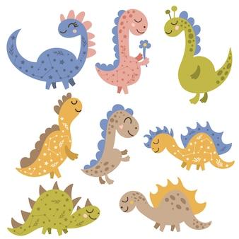 Śliczne małe dinozaury clipart. ilustracja wektorowa na na białym tle.