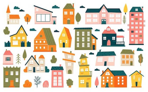 Śliczne małe domki. kreskówka małe kamienice, minimalizm budynki miejskie, zestaw ikon ilustracji minimalnego podmiejskiego domu mieszkalnego. dom mały wielokolorowy, struktura miejska na zewnątrz mieszkalna