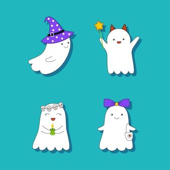 Śliczne małe duchy. zestaw naklejek wektorowych narysowanych w stylu kreskówki
