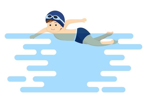 Śliczne małe dzieci pływanie tło wektor ilustracja w stylu płaskiej kreskówki. ludzie ubierają się w stroje kąpielowe, pływają latem i uprawiają sporty wodne