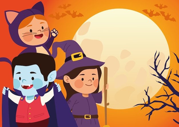 Śliczne małe dzieci ubrane jak kot i wiedźma z draculą w projekcie ilustracji wektorowych sceny księżyca