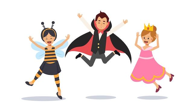 Śliczne małe dzieci w kostiumach na halloween skaczą, skaczą szczęśliwe dzieci. wampir draculi, pszczoła, księżniczka. ilustracja postaci płaskiej.