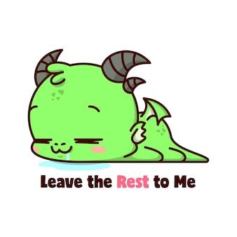 Śliczne małe dziecko zielony smok śpiący na podłodzie z zadowolenią twarzą i salived