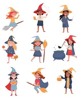 Śliczne małe dziewczynki ubierać jako czarownicy ustawiają, halloween bawją się pojęcie ilustracje na białym tle