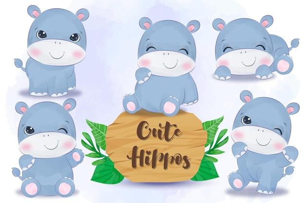 Śliczne małe hipopotamy w akwareli