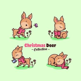 Śliczne małe jelenie w czerwonym szalu w święta bożego narodzenia