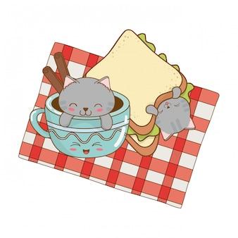 Śliczne małe koty z czekoladowym kubkiem kawaii