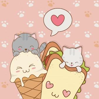 Śliczne małe koty z lodami i kanapkowymi postaciami kawaii