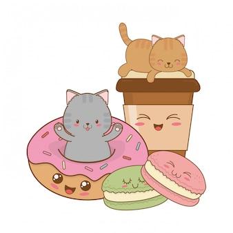 Śliczne małe koty z pączkami kawaii znaków