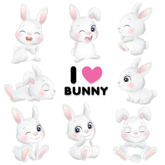 Śliczne małe królik pozy z akwareli ilustracją