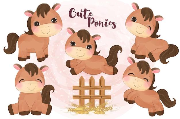 Śliczne małe kucyki ilustracja w akwareli