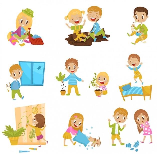 Śliczne, małe, łobuzerskie zestawy, radosne dzieci chuliganów, złe zachowanie dzieci