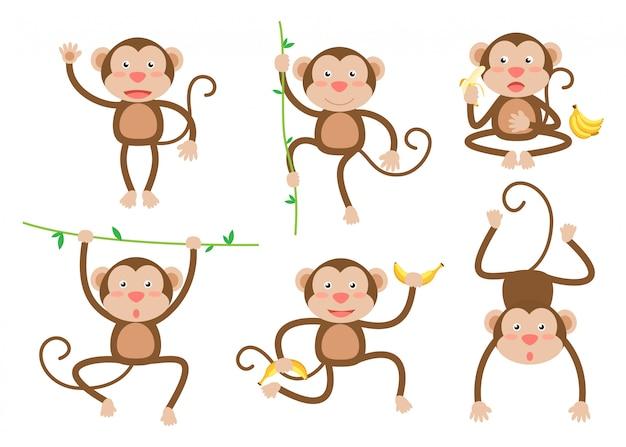 Śliczne małe małpy kreskówki wektorowy ustawiający w różnych pozach