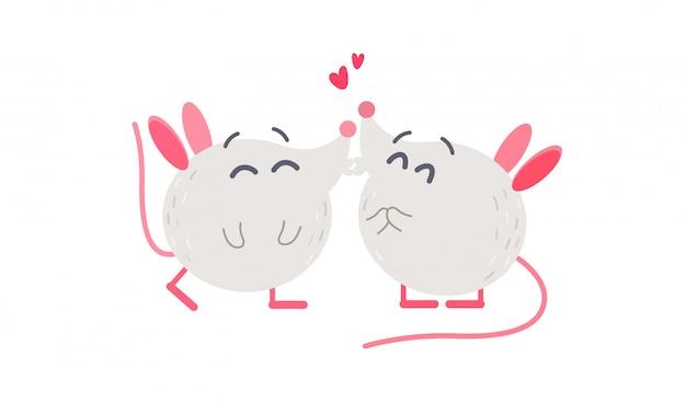 Śliczne małe myszy razem