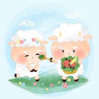 Śliczne małe owce jedzą sałatkę razem
