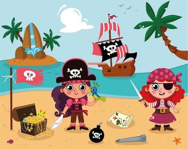 Śliczne małe pirackie dziewczyny statek piracki i niektóre pirackie rzeczy