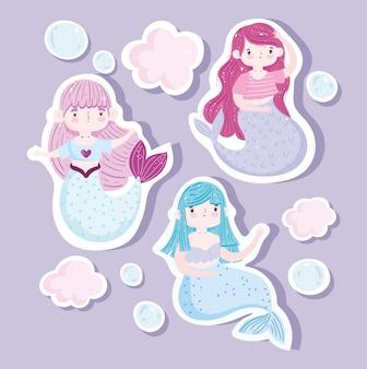 Śliczne małe syreny księżniczka pęcherzyki postaci z kreskówek